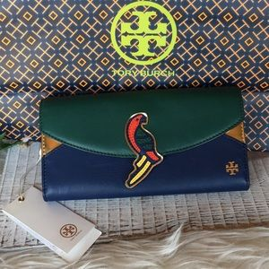 NWT Tory Burch  Continental Parrot  Wallet